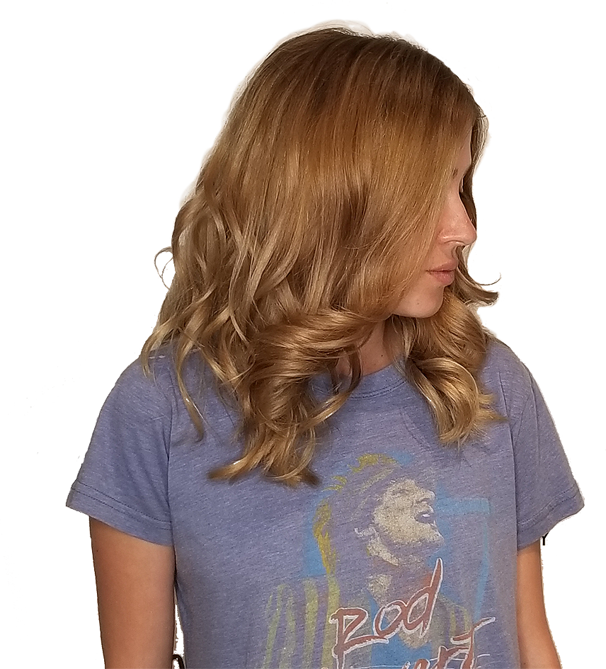 Women with golden bronze tone hair with curls (slider image)